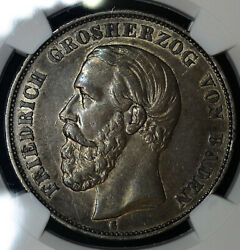 Germany-baden 5 Marks 1876 G Au58 Ngc Silver Crown Km263.1 5m Scarce Issue