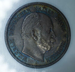 Germany-prussia 2 Marks 1877 C Ms61 Ngc Silver 2m Rainbow Edge Toning