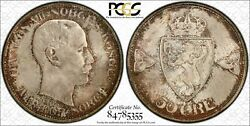 Norway 50 Ore 1909 Ms66 Pcgs Silver Km374 Haakon Vii Finest Pop 1/0 And Type