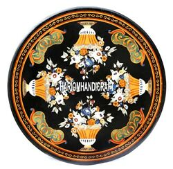 Round Marble Dining Table Top Marquetry Arts Inlaid Collectible Decorative H3856