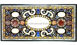 Beautiful Marble Fine Arts Dining Top Table Inlay Real Hallway Decoration H5076