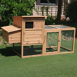 PawHut 75#x27;#x27; Wooden Poultry Chicken Coop Hen House with Egg Box Backyard Run
