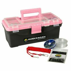 Pink Fishing Tackle Box With Starter Kit 55 Pc Lures Line Stringer Swivels