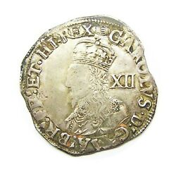 17th Century Silver Shilling Of King Charles Ist London 1636 - 1638 A.d.