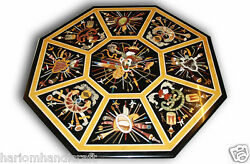 24 Rare Inlay Gems Ancient Mosaic Art Coffee Table Top Collectible Gifts H646