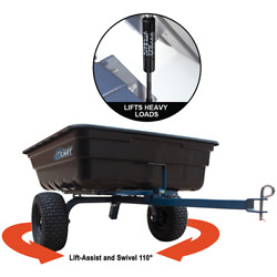 Oxcart Hydraulic-assisted 12 Cubic Foot Poly Dump Cart W/ Swivel Dump And Run-f...