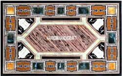 Console Black Table With Marble Top Restaurant Marquetry Real Inlaid Decor H3862
