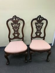 Pair Antique Wood Ornate Side Chair Adams Queen Anne Old Carved 44 Inch Tall