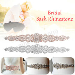 Bridal Wedding Dress Rhinestone Beaded Crystal Belt Sash Trim Applique Waistband