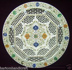 18 Round White Marble Tray Plate Inlaid Filigree Multi Design Stone Home Gifts