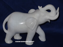 4 White Marble African Special Elephant Statue Trunk Up Good Luck Figurine Art