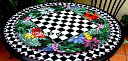 Marble Chess Top Living Room Table Decoration And Free Elephant Statue Inlay Decor