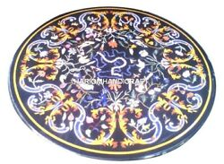 Black Marble Dining Table Top Mosaic Inlay Art Rare Gemstone Kitchen Gifts H2901