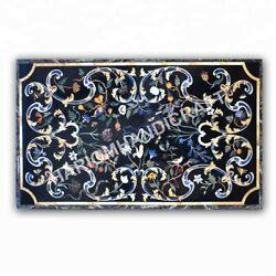 4and039x3and039 Marble Dining Table Top Floral Marquetry Inlay Kitchen Decoratives E1001a