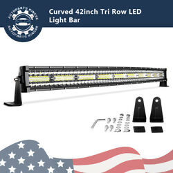 Tri-row 42inch 900w Curved Led Light Bars Offroad Combo Driving Trailer Suv Atv