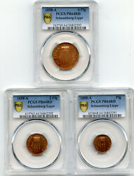 Germany 1858 Copper Proof Set 3 Coins Schaumburg Lippe Pcgs Pr64 Red