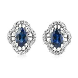 1.36ct Natural Round Diamond 14k White Gold Blue Sapphire Butterfly Lock Earring