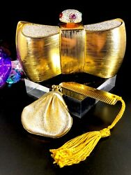 RARE JUDITH LEIBER GOLD METAL RHINESTONE BOW DESIGN EVENING CLUTCH SHOULDER BAG
