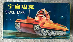 Vintage Battery Operated Space Tank Space Toy Tin Litho In Original Box 1960s