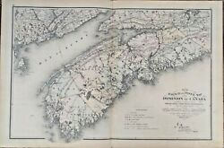 Rare New Railway And Postal Map Of The Dominion Of Canada Sheets 1-4 Genuine1875