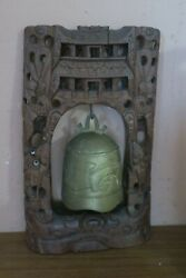 Antique Vintage Chinese Foo Dog Brass Gong 5 Bell + Carved Wood Stand 8 X 13