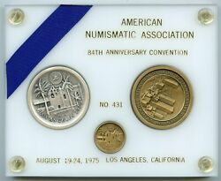 1975 Ana 84th Annual Convention Pikes Peak 2 Medal Coin Set - White Holder