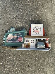 Burwood Products Coca-cola Wall Clock Route 66 Gas Station 55 Chevy Working