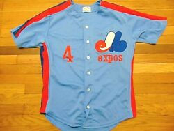 Vintage 80and039s Macgregor Sand Knit Mlb Montreal Expos Authentic Jersey Size 44