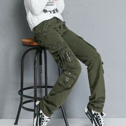 Womenand039s Cotton Long Military Baggy Pants Climbing Combat Casual Bottoms Pocket