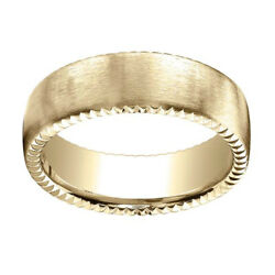 14k Yellow Gold 7.5mm Comfort Fit Rivet Coin Edging Carved Band Ring Sz 13
