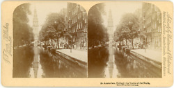 Stereo, Pays-bas, Nederland, Amsterdam, Canal, 1894 Vintage Stereo Card - Underw