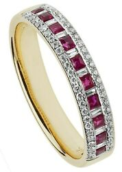 Ruby Eternity Ring Baguette Diamond Yellow Gold Certificate Large Size R - Z