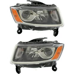 Headlight Set For 2014-2016 Jeep Grand Cherokee Left And Right Black Housing 2pc
