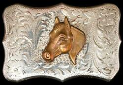 Rare Sterling And Gold Overlay Diablo Mfg. Co. Horsehead Belt Buckle