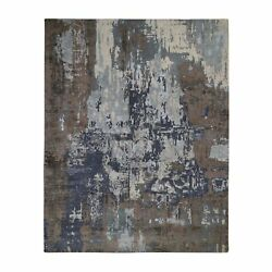 8'x10'4 Blue Abstract Design Wool And Silk Hand Knotted Oriental Rug R48585