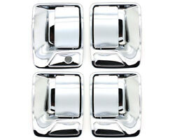 New Chrome Outside Door Handle Set / For 4dr 1999-2016 Ford Super Duty Truck