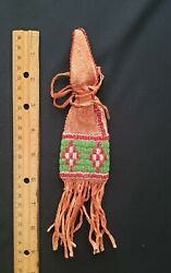 Native American Indian Beaded Medicine Pouch, With Fringe