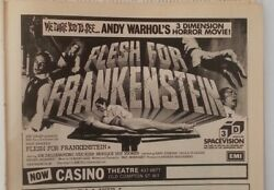 Andy Warhol 'flesh For Frankenstein' 1975 Magazine Advert/clipping 5x8 Inches