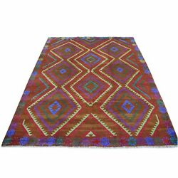 6and0391x7and0398 Geometric Design Hand Made Wool Colorful Afghan Village Rug R53150