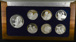 Charles A Lindbergh Memorial Medallion Collection W/coa Box 7 Medals Silver