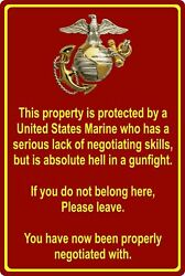 Funny Tin Sign Property Protected by Marine USMC Wall Decor bed bath