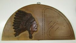 Beautiful Large Hand Carved Indian Chief Cribbage Board By Bill Dehn Michigan