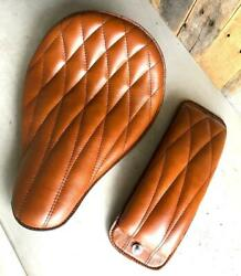 Spring Solo Seat Softail Harley P-pad Chopper Scout 11x16 Tan Diamond Leather
