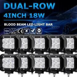 4inch 18w Blood Led Work Light Bar Fit For 4wd Offroad Fog Atv Suv Driving Lamp