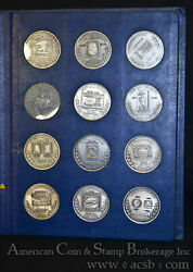 1971-1979 United States Postal Service Us Mail 14 Medal Set Silver Plated