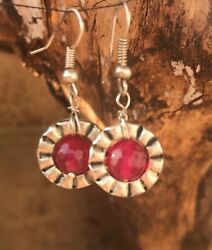 Earrings Drop Stone Gem Hand Made Unique One Off Crystal Tiberan Silver Pink