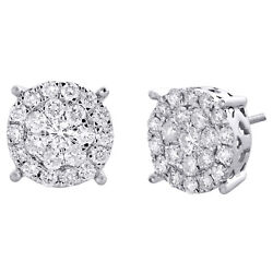 10k White Gold Genuine Round Diamond 4 Prong Cluster Studs 12mm Earrings 2 Ct.