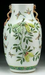 A Big Chinese Embossed Famille Rose Porcelain Vase Chip On Body