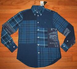 Womens Polo Ralph Lauren Patchwork Plaid Buttondown Oxford Shirt Pony Logo *5D