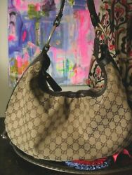 Auth GUCCI Large Mono HOBO Shoulder Bag Handbag Purse Tote Designer Accessory GG